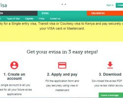 A screen Capture of the Kenyan E-Citizen Portal for online Visa application
